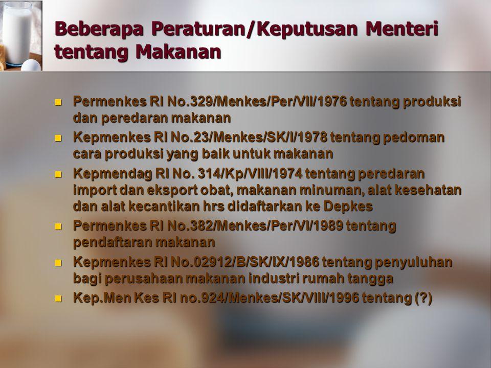 Beberapa Peraturan/Keputusan Menteri tentang Makanan Permenkes RI No.329/Menkes/Per/VII/1976 tentang produksi dan peredaran makanan Permenkes RI No.32