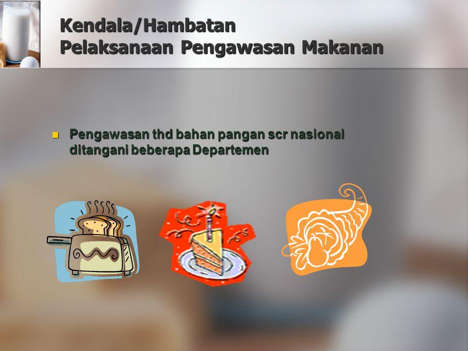 Kendala/Hambatan Pelaksanaan Pengawasan Makanan Pengawasan thd bahan pangan scr nasional ditangani beberapa Departemen Pengawasan thd bahan pangan scr