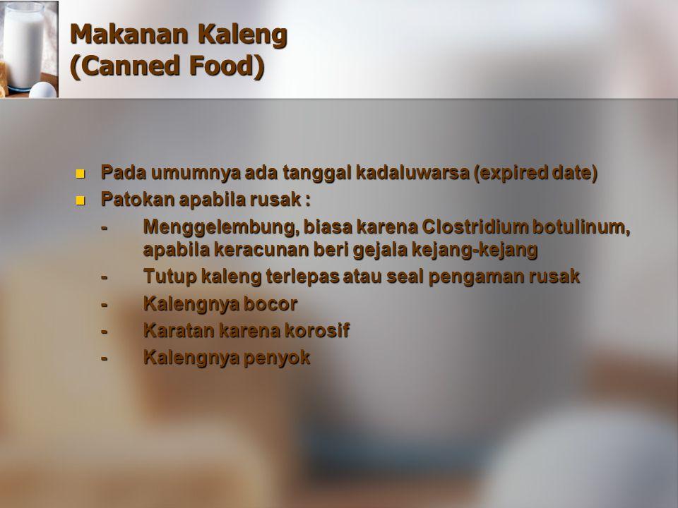 Makanan Kaleng (Canned Food) Pada umumnya ada tanggal kadaluwarsa (expired date) Pada umumnya ada tanggal kadaluwarsa (expired date) Patokan apabila r