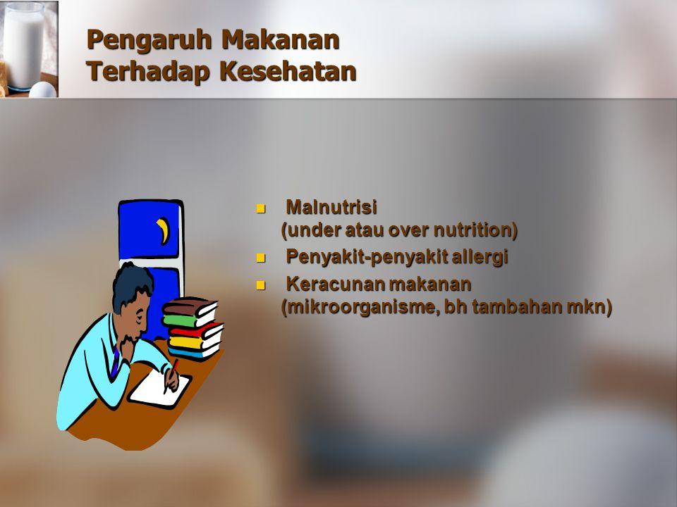 Pengaruh Makanan Terhadap Kesehatan Malnutrisi (under atau over nutrition) Malnutrisi (under atau over nutrition) Penyakit-penyakit allergi Penyakit-p