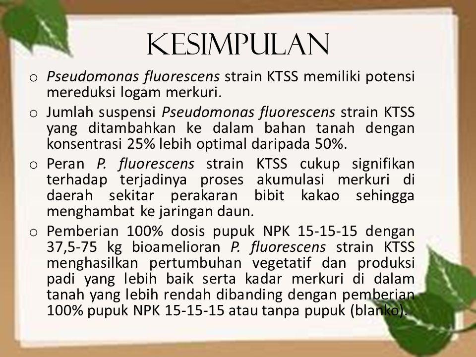 Kesimpulan o Pseudomonas fluorescens strain KTSS memiliki potensi mereduksi logam merkuri. o Jumlah suspensi Pseudomonas fluorescens strain KTSS yang
