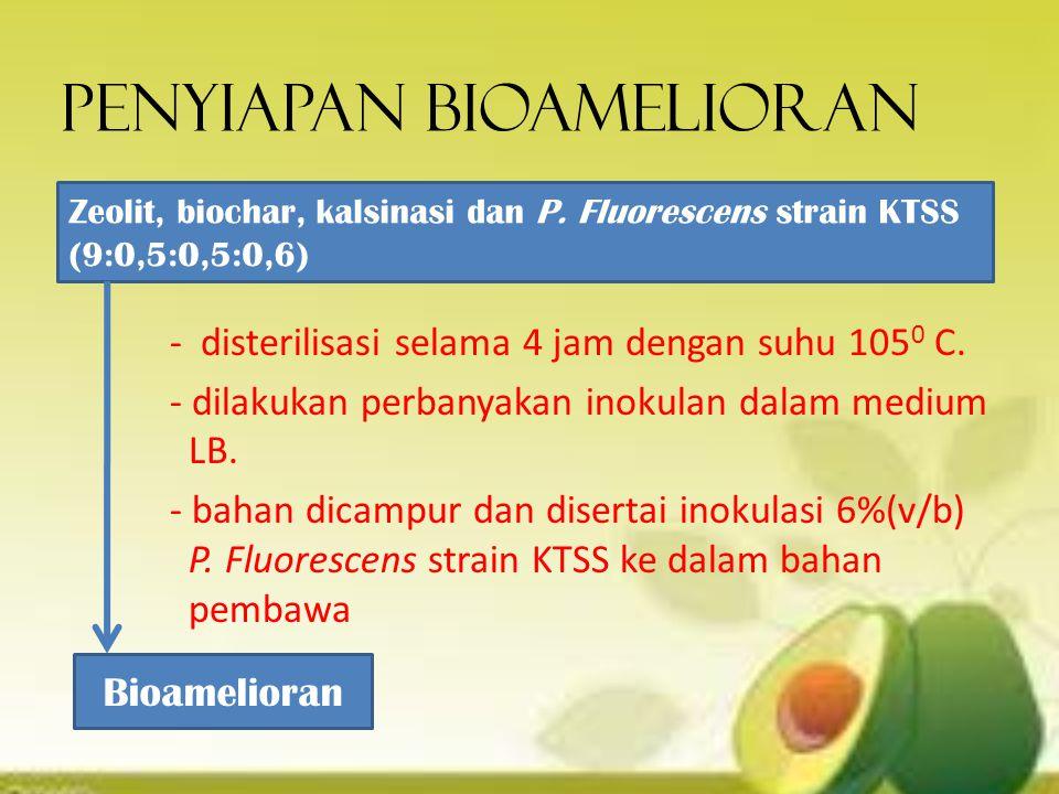 Penyiapan bioamelioran - disterilisasi selama 4 jam dengan suhu 105 0 C. - dilakukan perbanyakan inokulan dalam medium LB. - bahan dicampur dan disert