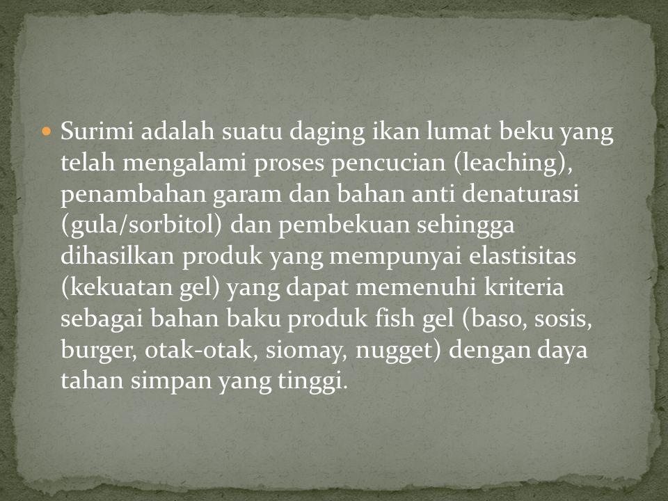 Surimi adalah suatu daging ikan lumat beku yang telah mengalami proses pencucian (leaching), penambahan garam dan bahan anti denaturasi (gula/sorbitol
