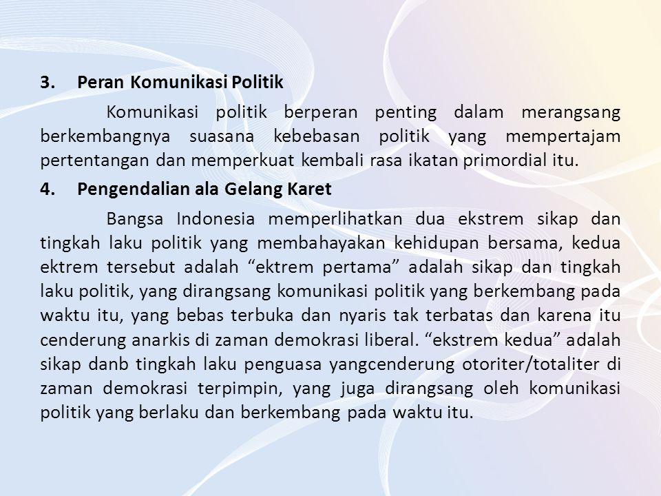 3.Peran Komunikasi Politik Komunikasi politik berperan penting dalam merangsang berkembangnya suasana kebebasan politik yang mempertajam pertentangan