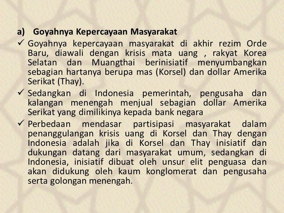 a)Goyahnya Kepercayaan Masyarakat Goyahnya kepercayaan masyarakat di akhir rezim Orde Baru, diawali dengan krisis mata uang, rakyat Korea Selatan dan Muangthai berinisiatif menyumbangkan sebagian hartanya berupa mas (Korsel) dan dollar Amerika Serikat (Thay).