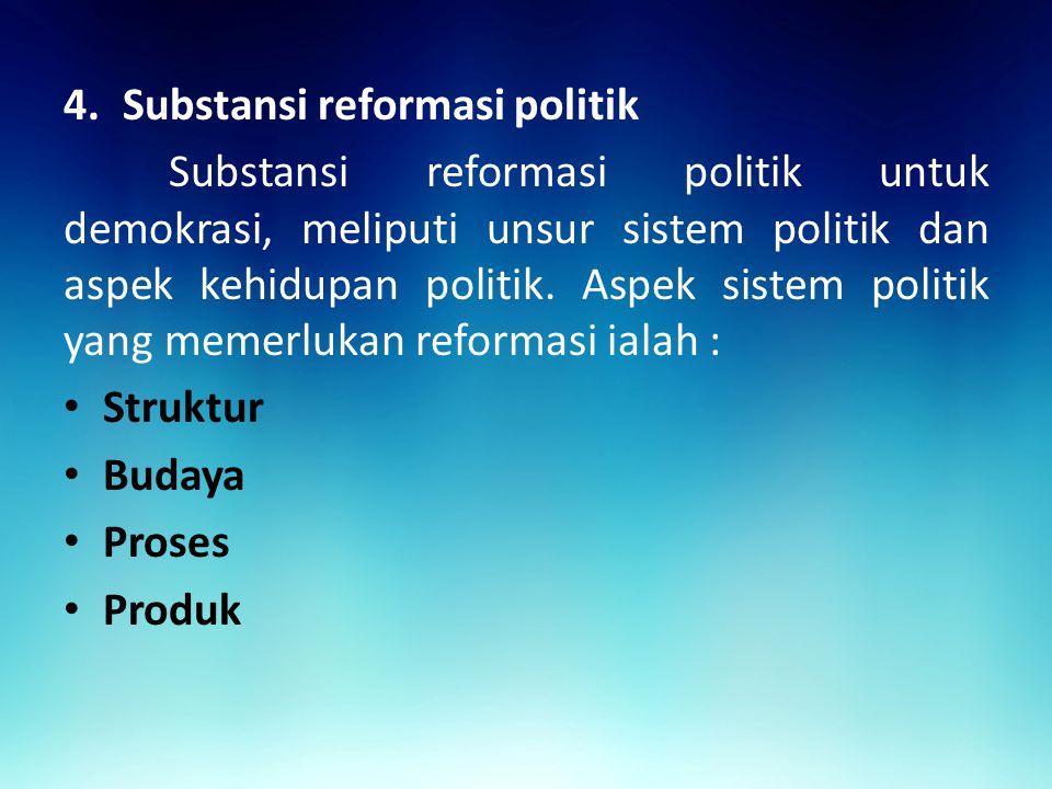 4.Substansi reformasi politik Substansi reformasi politik untuk demokrasi, meliputi unsur sistem politik dan aspek kehidupan politik.