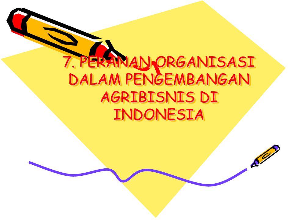 7. PERANAN ORGANISASI DALAM PENGEMBANGAN AGRIBISNIS DI INDONESIA