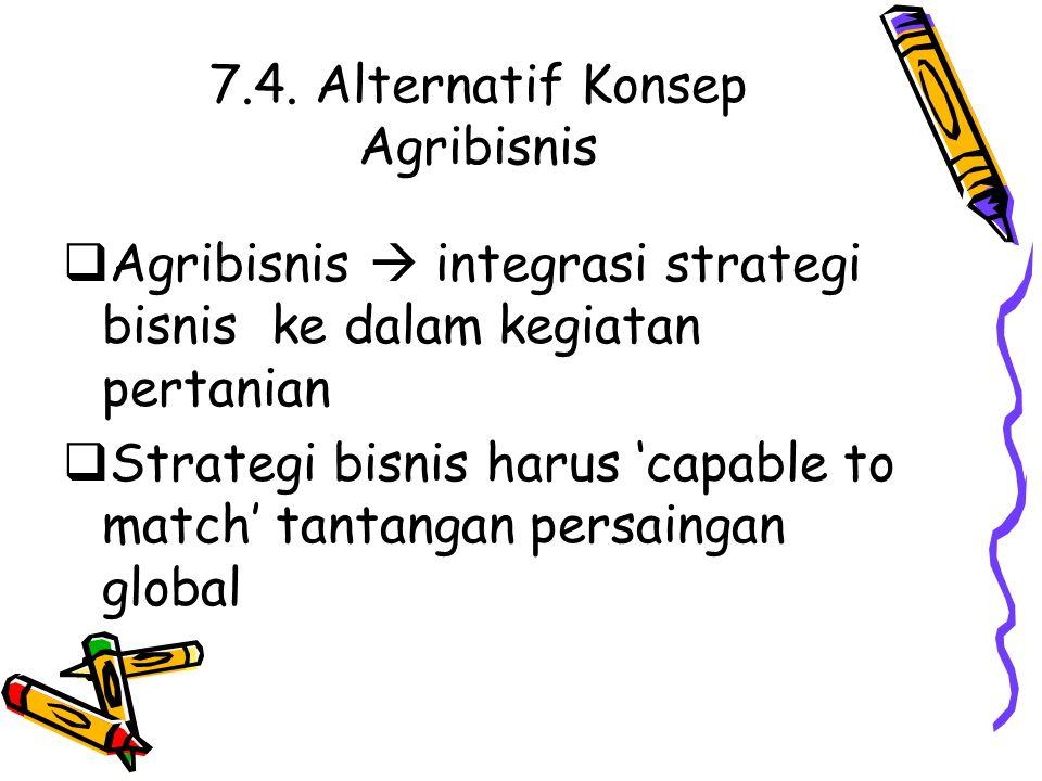 7.4. Alternatif Konsep Agribisnis  Agribisnis  integrasi strategi bisnis ke dalam kegiatan pertanian  Strategi bisnis harus 'capable to match' tant