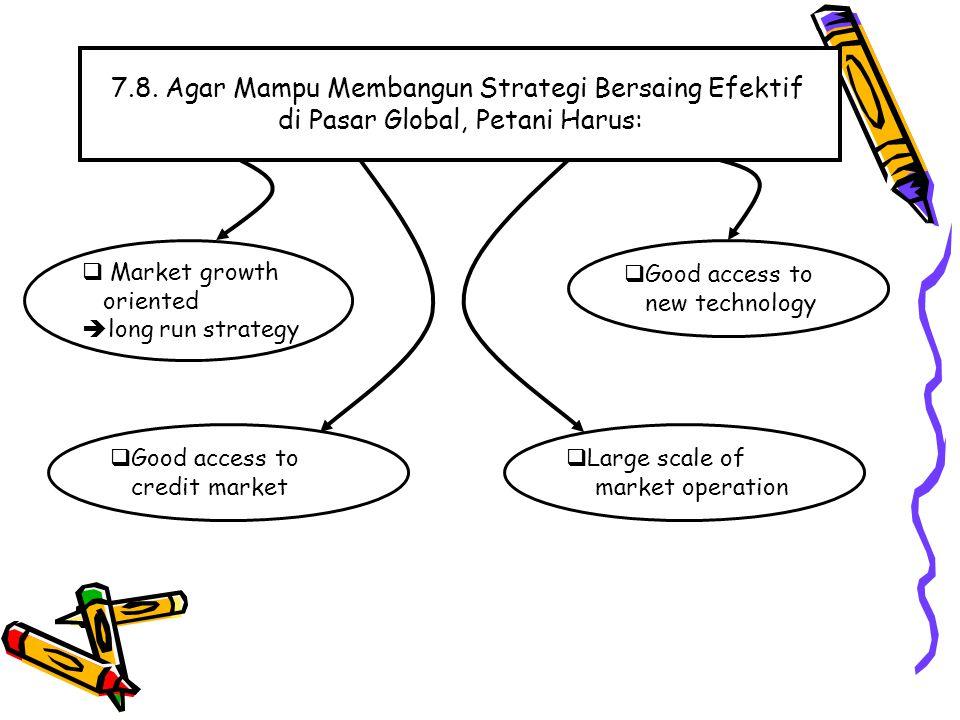 7.8. Agar Mampu Membangun Strategi Bersaing Efektif di Pasar Global, Petani Harus:  Market growth oriented  long run strategy  Large scale of marke