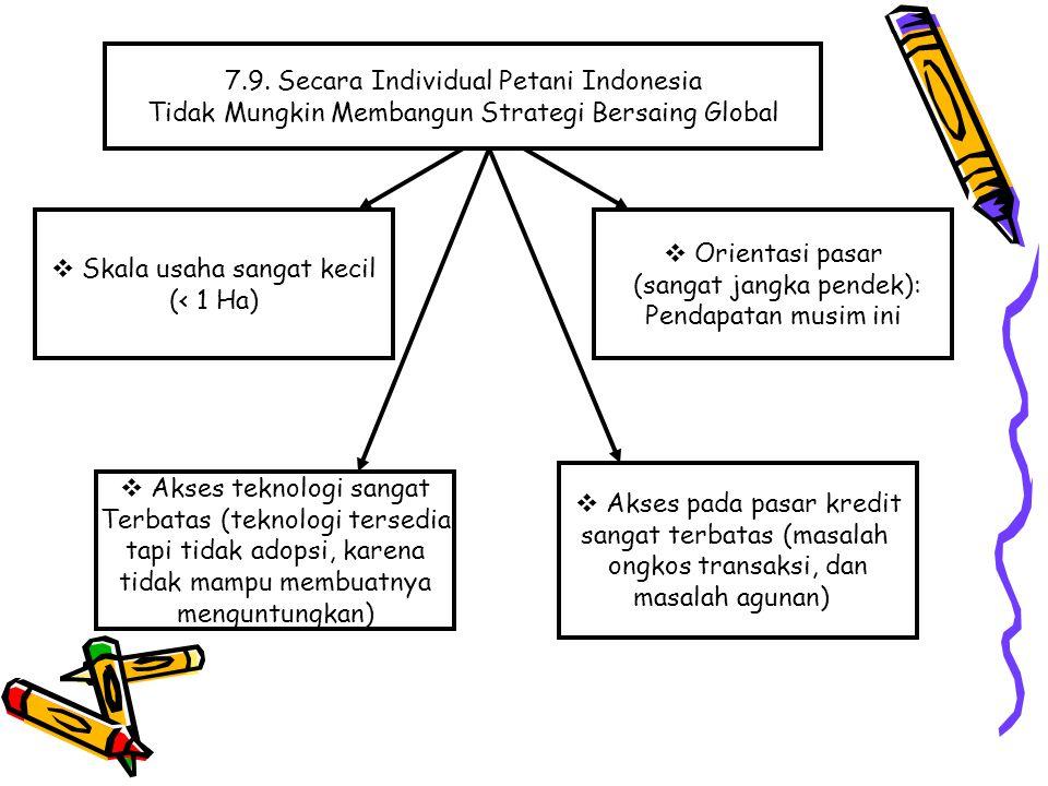 7.9. Secara Individual Petani Indonesia Tidak Mungkin Membangun Strategi Bersaing Global  Skala usaha sangat kecil (< 1 Ha)  Akses pada pasar kredit