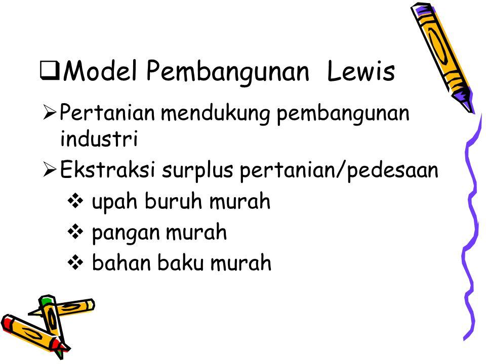  Model Pembangunan Lewis  Pertanian mendukung pembangunan industri  Ekstraksi surplus pertanian/pedesaan  upah buruh murah  pangan murah  bahan