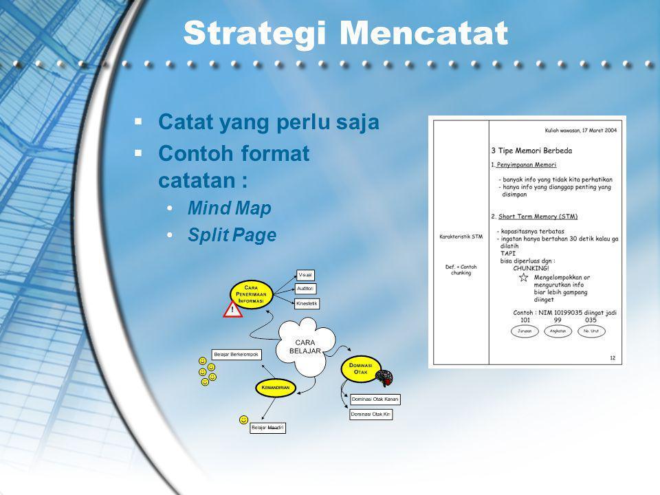Strategi Mencatat  Catat yang perlu saja  Contoh format catatan : Mind Map Split Page