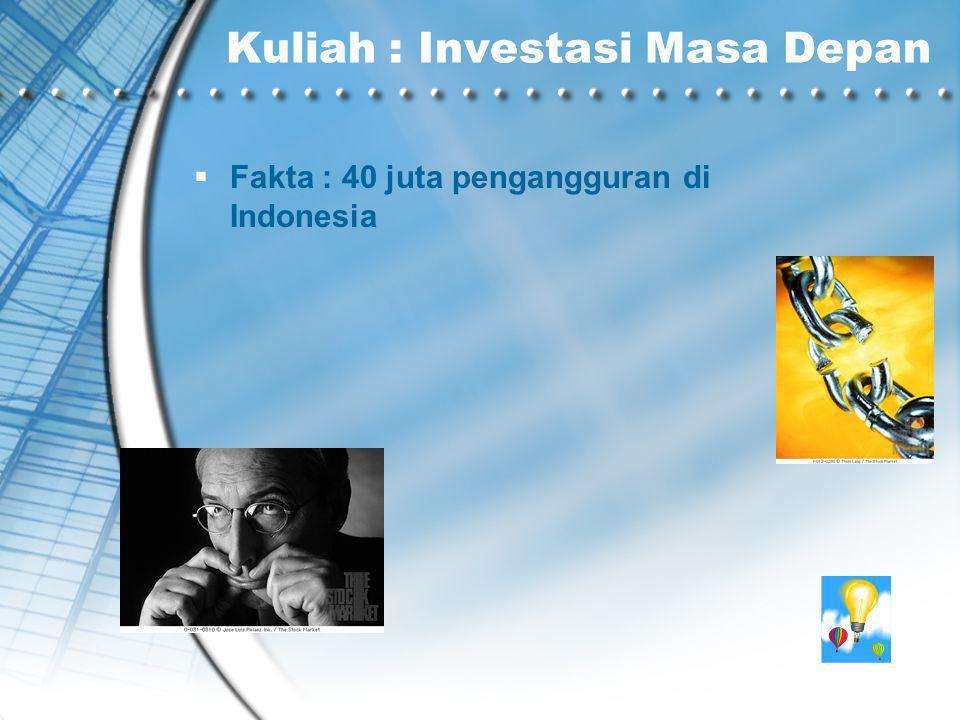 Kuliah : Investasi Masa Depan  Fakta : 40 juta pengangguran di Indonesia