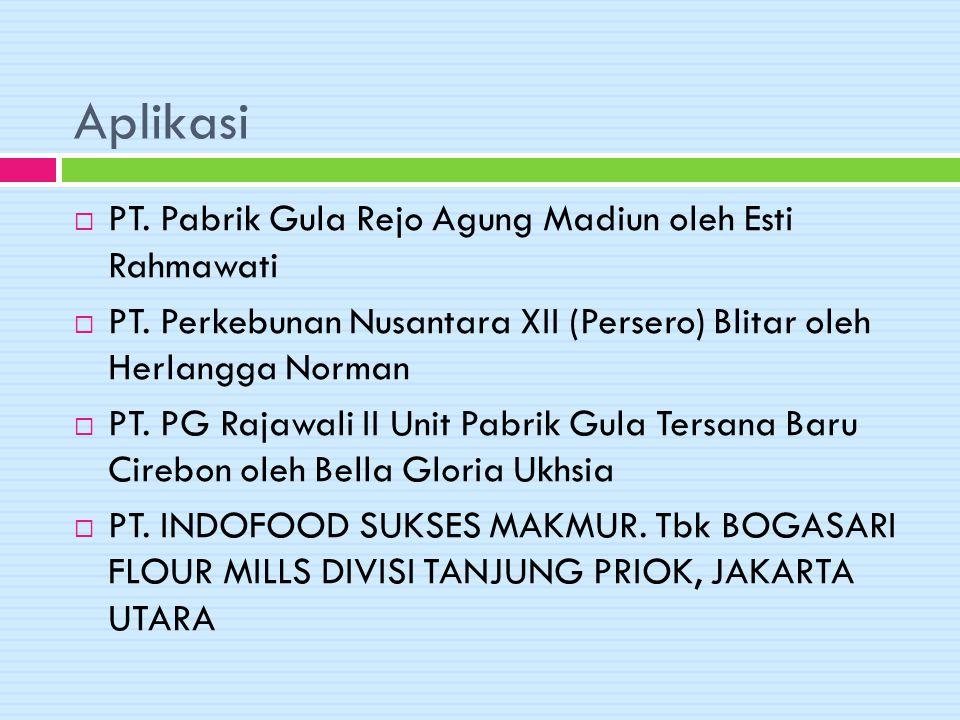 Aplikasi  PT. Pabrik Gula Rejo Agung Madiun oleh Esti Rahmawati  PT. Perkebunan Nusantara XII (Persero) Blitar oleh Herlangga Norman  PT. PG Rajawa