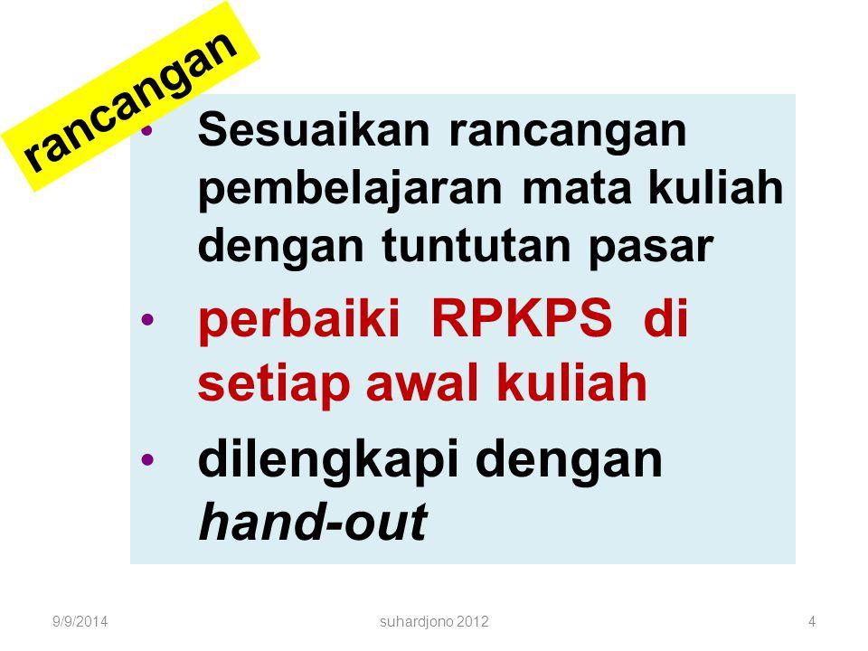 Sesuaikan rancangan pembelajaran mata kuliah dengan tuntutan pasar perbaiki RPKPS di setiap awal kuliah dilengkapi dengan hand-out 9/9/20144suhardjono 2012 rancangan