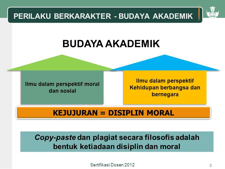 Copy-paste dan plagiat secara filosofis adalah bentuk ketiadaan disiplin dan moral KEJUJURAN = DISIPLIN MORAL BUDAYA AKADEMIK PERILAKU BERKARAKTER - BUDAYA AKADEMIK Ilmu dalam perspektif moral dan sosial Ilmu dalam perspektif Kehidupan berbangsa dan bernegara 3 Sertifikasi Dosen 2012