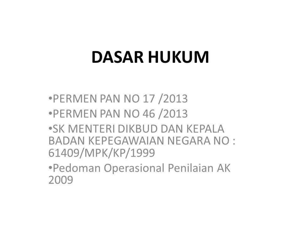 DASAR HUKUM PERMEN PAN NO 17 /2013 PERMEN PAN NO 46 /2013 SK MENTERI DIKBUD DAN KEPALA BADAN KEPEGAWAIAN NEGARA NO : 61409/MPK/KP/1999 Pedoman Operasi