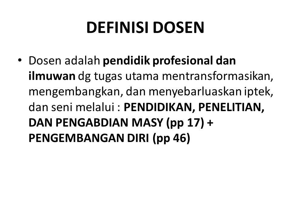 DEFINISI DOSEN Dosen adalah pendidik profesional dan ilmuwan dg tugas utama mentransformasikan, mengembangkan, dan menyebarluaskan iptek, dan seni melalui : PENDIDIKAN, PENELITIAN, DAN PENGABDIAN MASY (pp 17) + PENGEMBANGAN DIRI (pp 46)