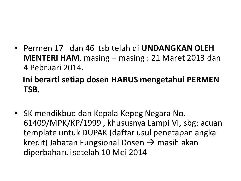 Permen 17 dan 46 tsb telah di UNDANGKAN OLEH MENTERI HAM, masing – masing : 21 Maret 2013 dan 4 Pebruari 2014. Ini berarti setiap dosen HARUS mengetah