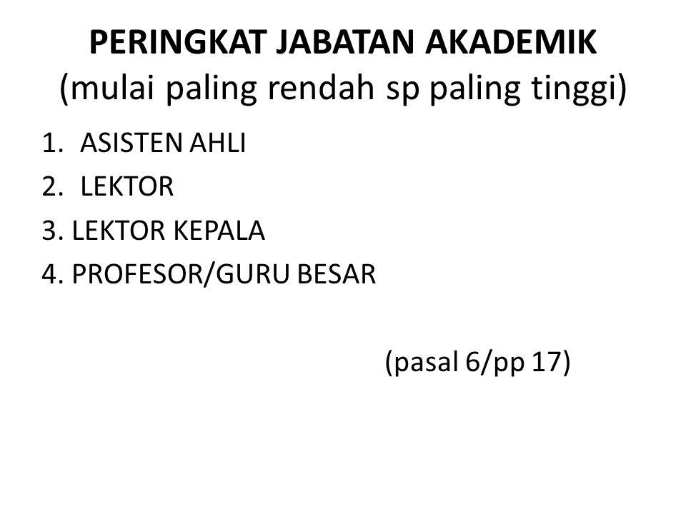 PERINGKAT JABATAN AKADEMIK (mulai paling rendah sp paling tinggi) 1.ASISTEN AHLI 2.LEKTOR 3. LEKTOR KEPALA 4. PROFESOR/GURU BESAR (pasal 6/pp 17)