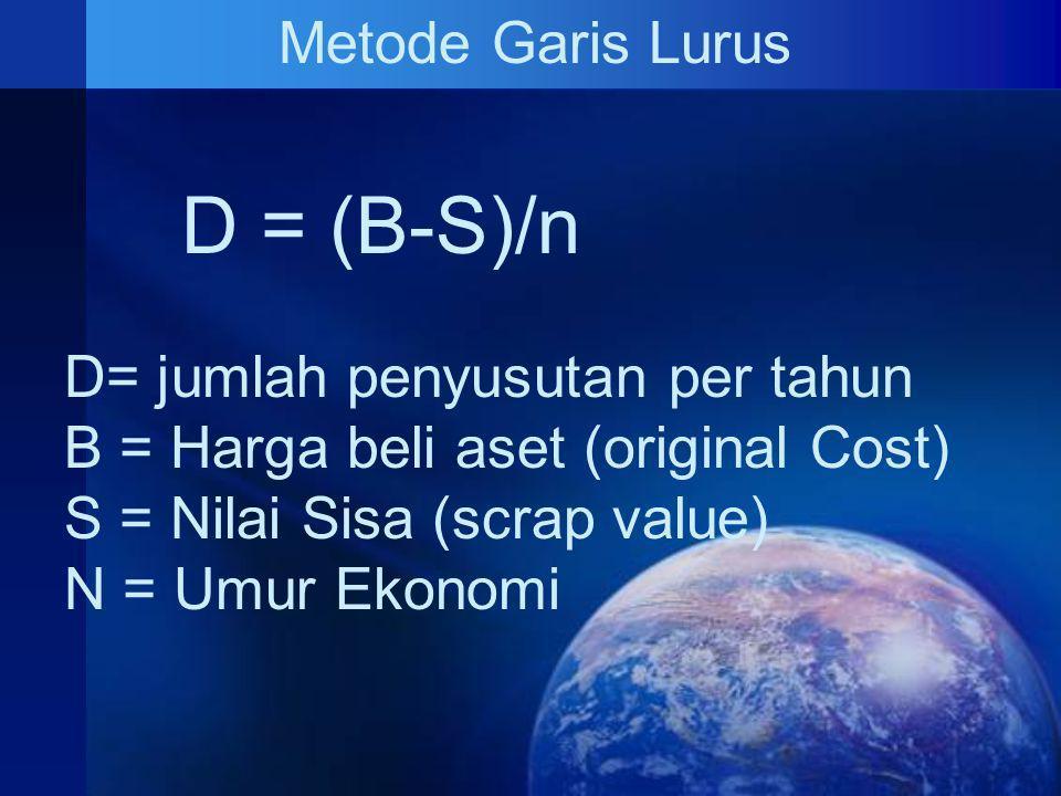 Metode Garis Lurus D = (B-S)/n D= jumlah penyusutan per tahun B = Harga beli aset (original Cost) S = Nilai Sisa (scrap value) N = Umur Ekonomi