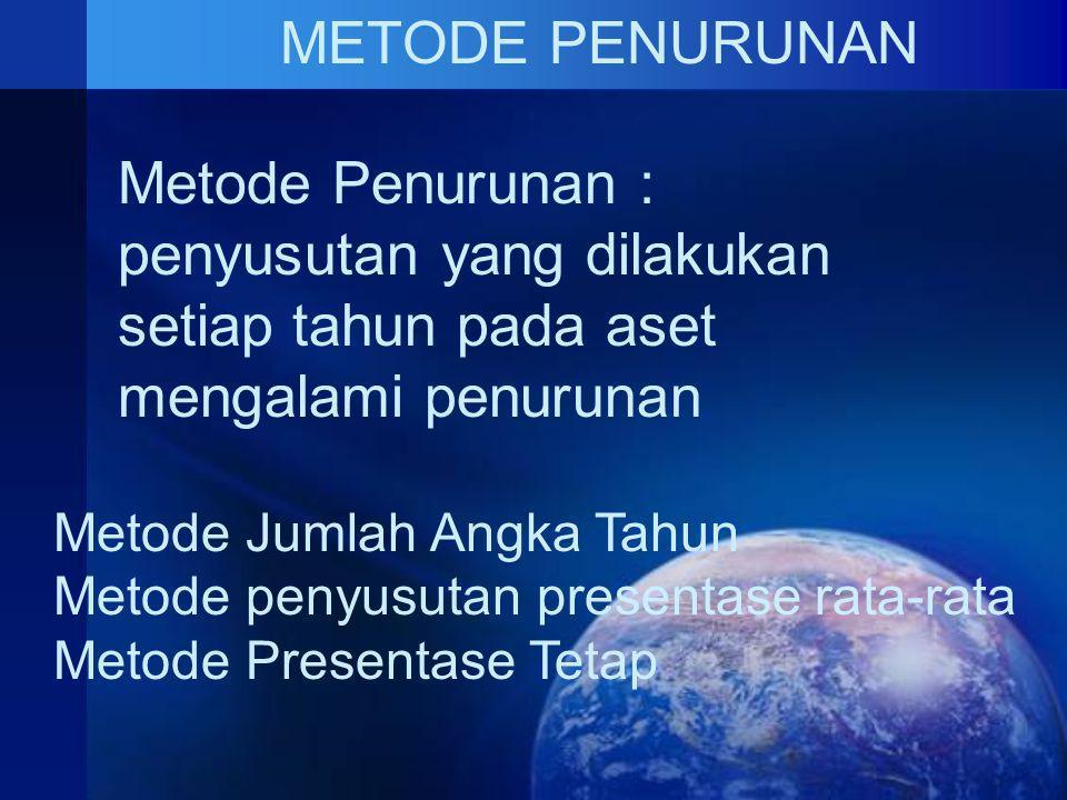METODE PENURUNAN Metode Penurunan : penyusutan yang dilakukan setiap tahun pada aset mengalami penurunan Metode Jumlah Angka Tahun Metode penyusutan presentase rata-rata Metode Presentase Tetap
