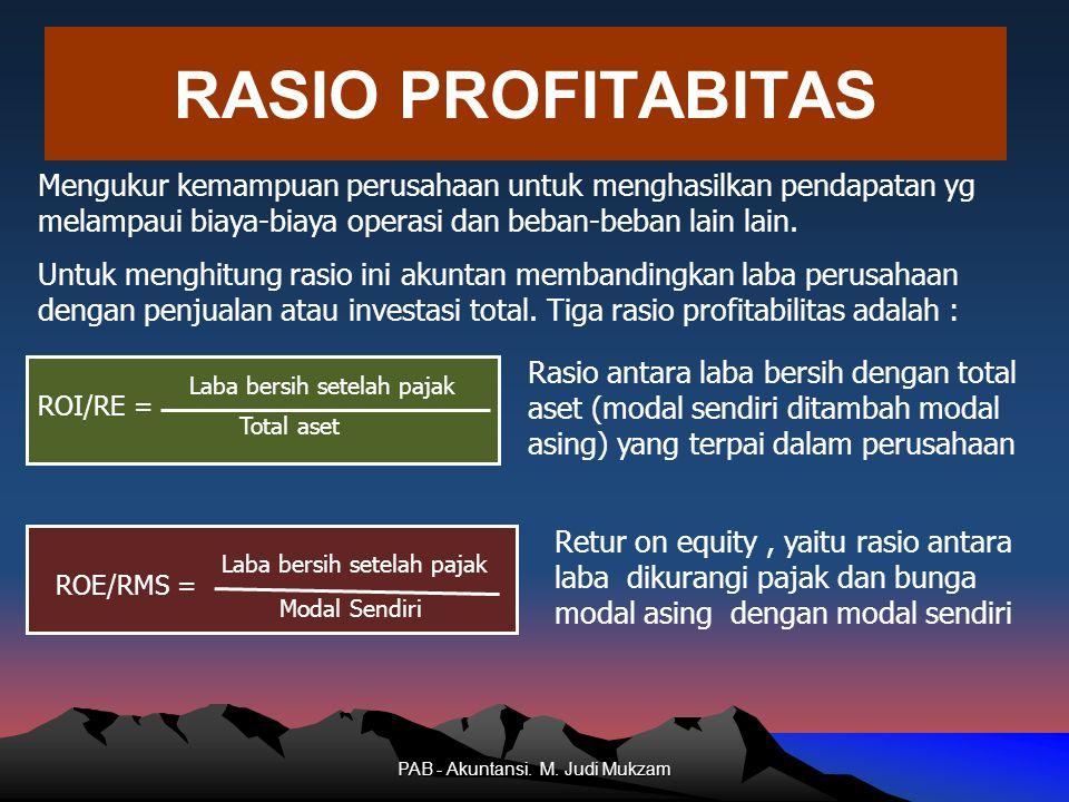RASIO PROFITABITAS Rasio antara laba bersih dengan total aset (modal sendiri ditambah modal asing) yang terpai dalam perusahaan Laba bersih setelah pa