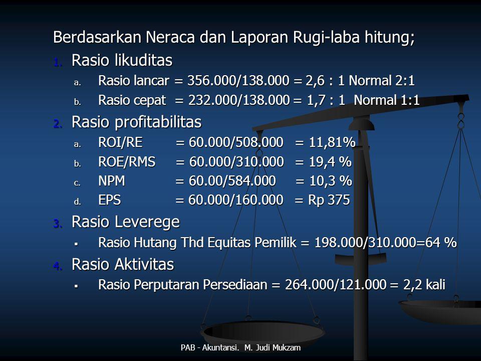 Berdasarkan Neraca dan Laporan Rugi-laba hitung; 1. Rasio likuditas a. Rasio lancar = 356.000/138.000 = 2,6 : 1 Normal 2:1 b. Rasio cepat = 232.000/13