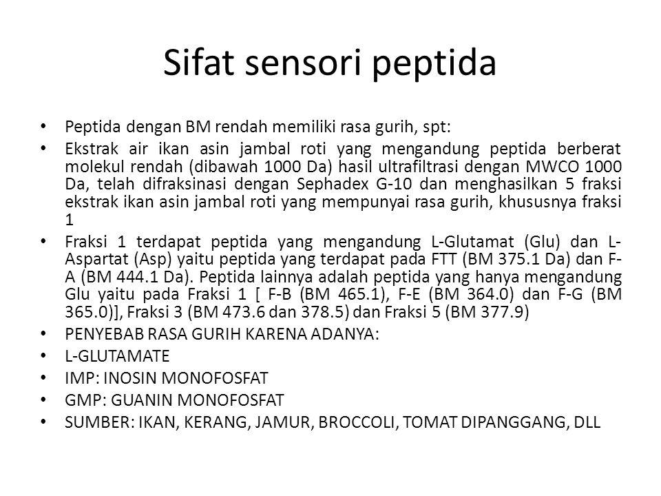 Sifat sensori peptida Peptida dengan BM rendah memiliki rasa gurih, spt: Ekstrak air ikan asin jambal roti yang mengandung peptida berberat molekul rendah (dibawah 1000 Da) hasil ultrafiltrasi dengan MWCO 1000 Da, telah difraksinasi dengan Sephadex G-10 dan menghasilkan 5 fraksi ekstrak ikan asin jambal roti yang mempunyai rasa gurih, khususnya fraksi 1 Fraksi 1 terdapat peptida yang mengandung L-Glutamat (Glu) dan L- Aspartat (Asp) yaitu peptida yang terdapat pada FTT (BM 375.1 Da) dan F- A (BM 444.1 Da).