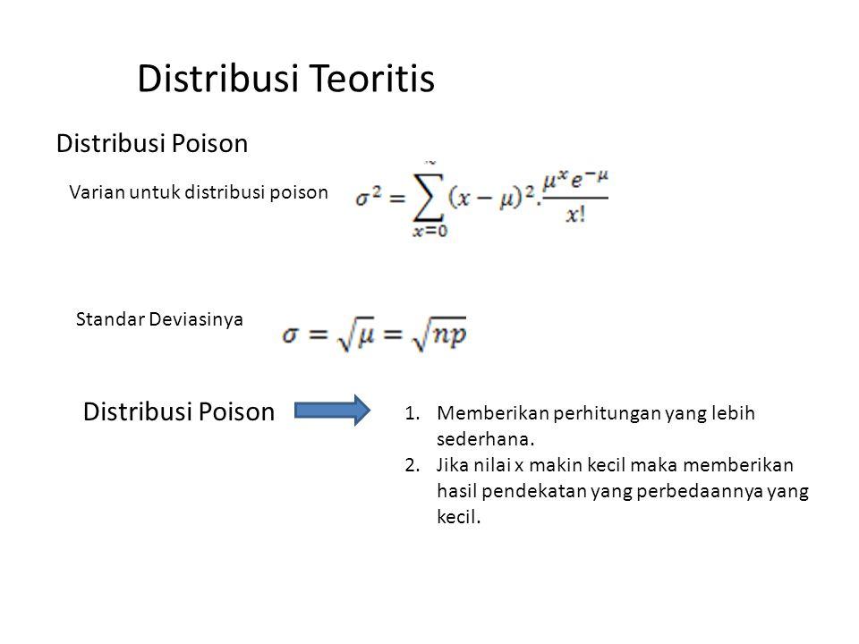 Distribusi Teoritis Distribusi Poison Varian untuk distribusi poison Standar Deviasinya Distribusi Poison 1.Memberikan perhitungan yang lebih sederhan
