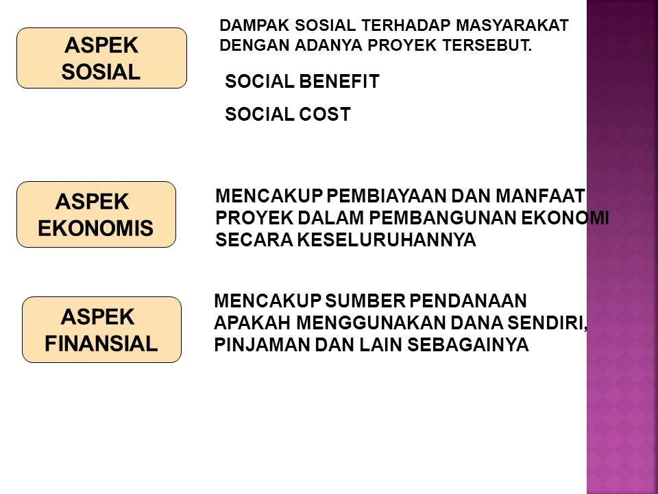 ASPEK SOSIAL DAMPAK SOSIAL TERHADAP MASYARAKAT DENGAN ADANYA PROYEK TERSEBUT. SOCIAL BENEFIT SOCIAL COST ASPEK EKONOMIS MENCAKUP PEMBIAYAAN DAN MANFAA