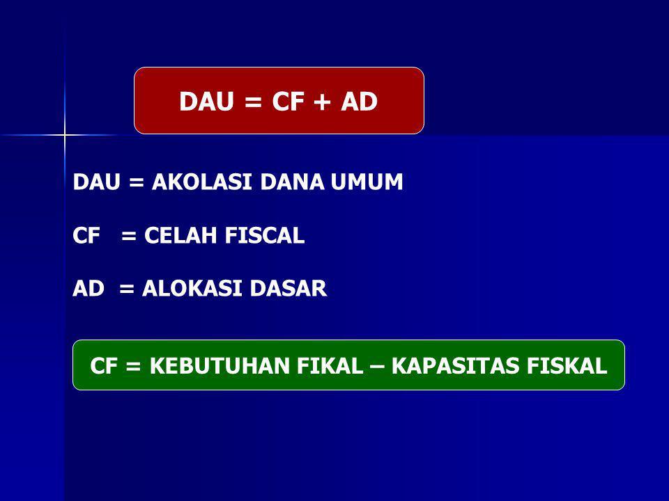 DAU = CF + AD DAU = AKOLASI DANA UMUM CF = CELAH FISCAL AD = ALOKASI DASAR CF = KEBUTUHAN FIKAL – KAPASITAS FISKAL