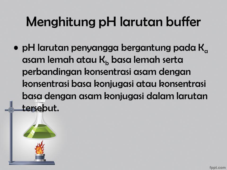 Menghitung pH larutan buffer pH larutan penyangga bergantung pada K a asam lemah atau K b basa lemah serta perbandingan konsentrasi asam dengan konsen
