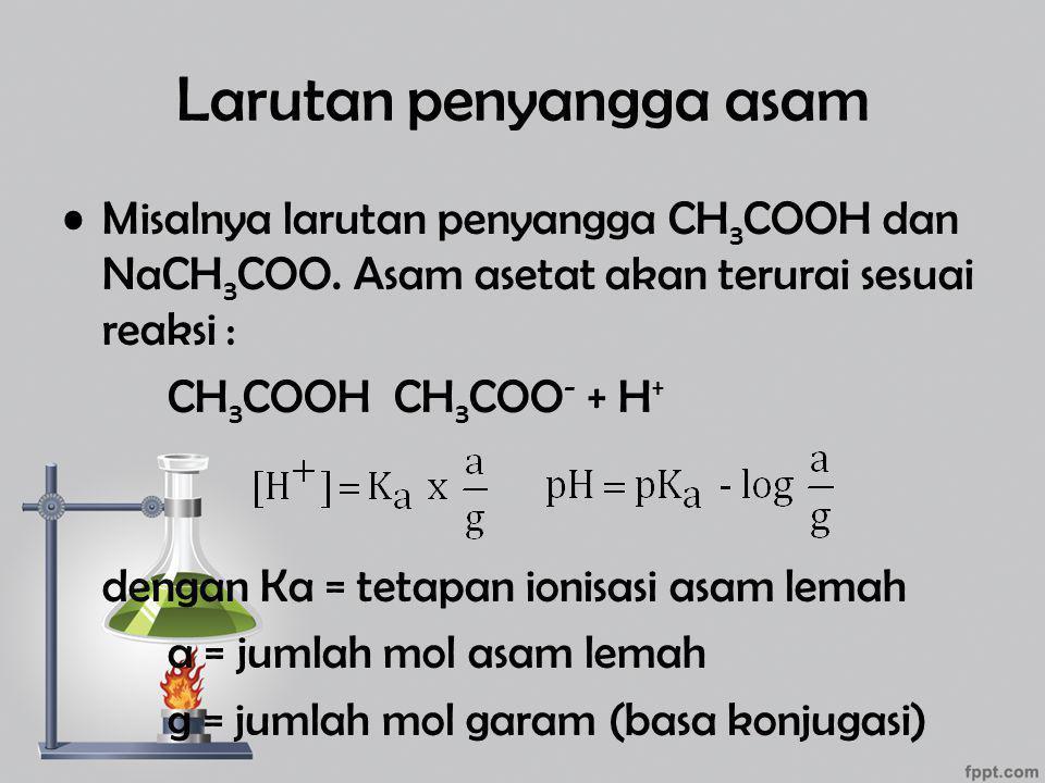 Larutan penyangga asam Misalnya larutan penyangga CH 3 COOH dan NaCH 3 COO. Asam asetat akan terurai sesuai reaksi : CH 3 COOH CH 3 COO - + H + dengan