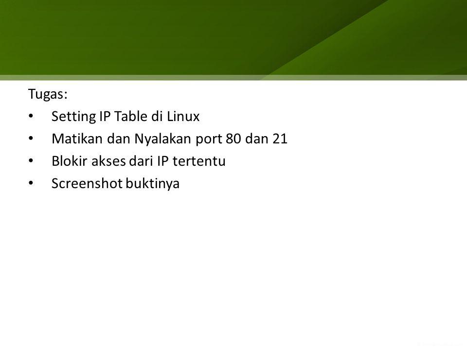 Tugas: Setting IP Table di Linux Matikan dan Nyalakan port 80 dan 21 Blokir akses dari IP tertentu Screenshot buktinya