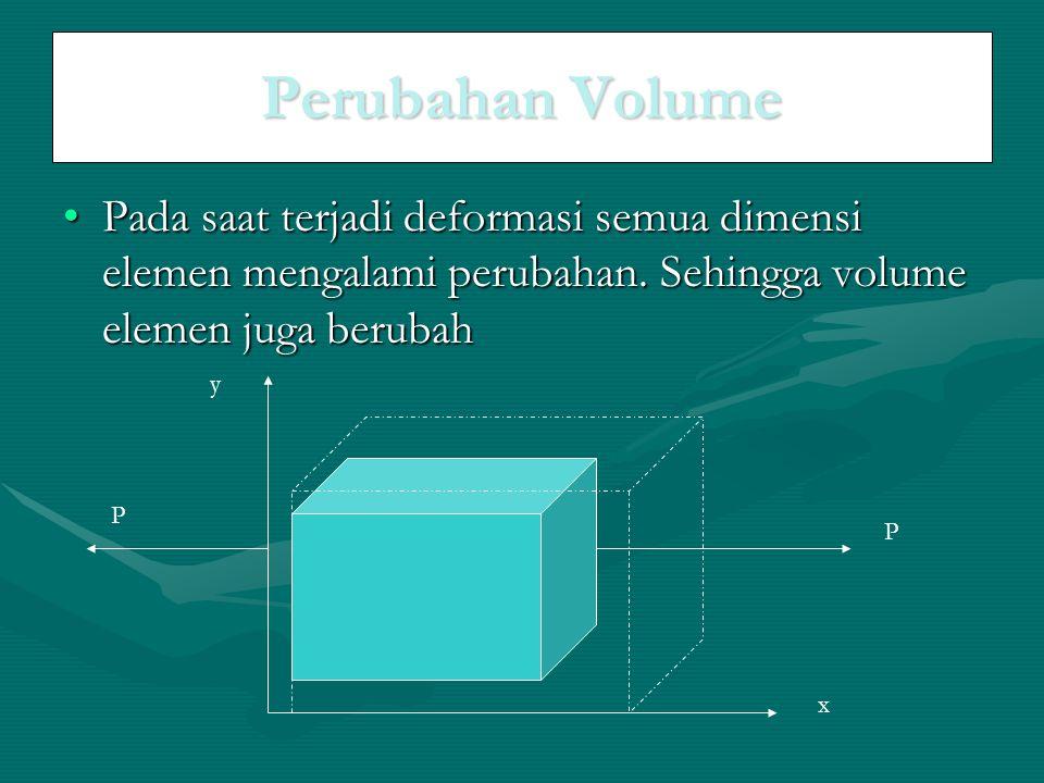Perubahan Volume Pada saat terjadi deformasi semua dimensi elemen mengalami perubahan. Sehingga volume elemen juga berubahPada saat terjadi deformasi
