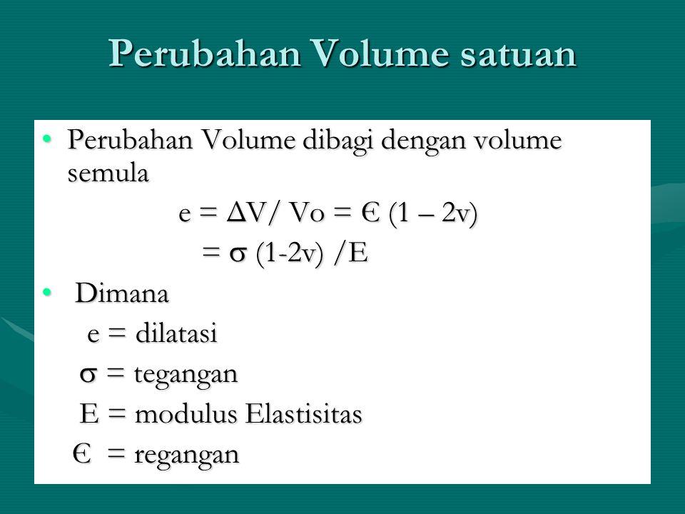 Perubahan Volume satuan Perubahan Volume dibagi dengan volume semulaPerubahan Volume dibagi dengan volume semula e = ΔV/ Vo = Є (1 – 2v) e = ΔV/ Vo =