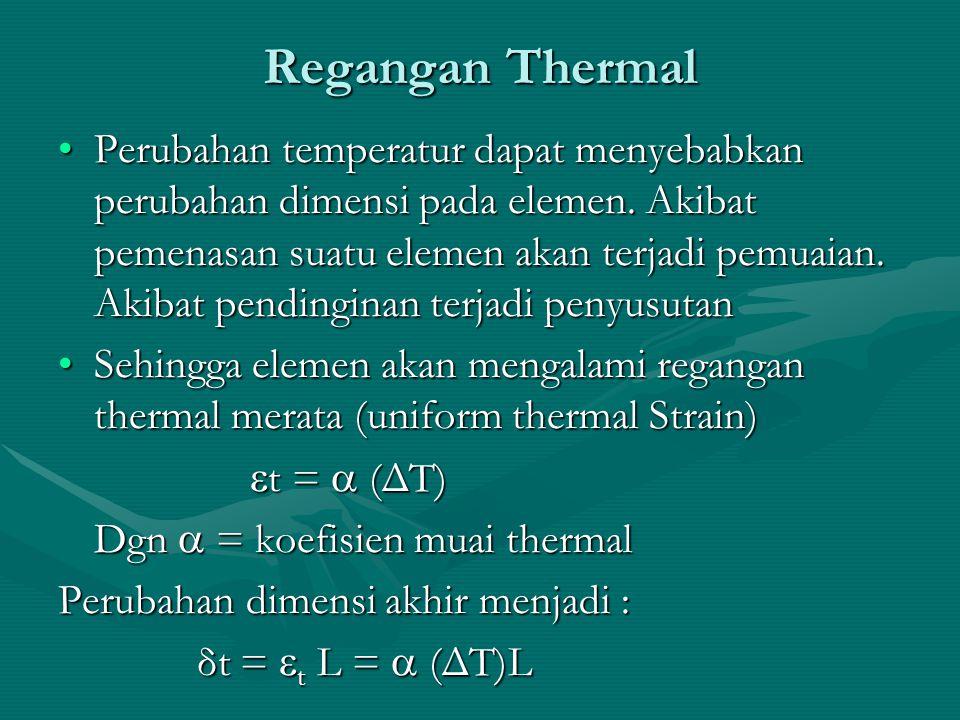 Regangan Thermal Perubahan temperatur dapat menyebabkan perubahan dimensi pada elemen. Akibat pemenasan suatu elemen akan terjadi pemuaian. Akibat pen