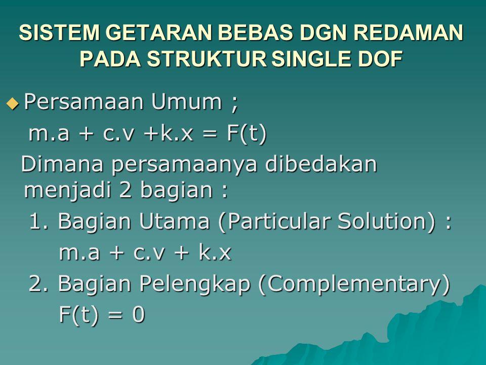 SISTEM GETARAN BEBAS DGN REDAMAN PADA STRUKTUR SINGLE DOF  Persamaan Umum ; m.a + c.v +k.x = F(t) m.a + c.v +k.x = F(t) Dimana persamaanya dibedakan