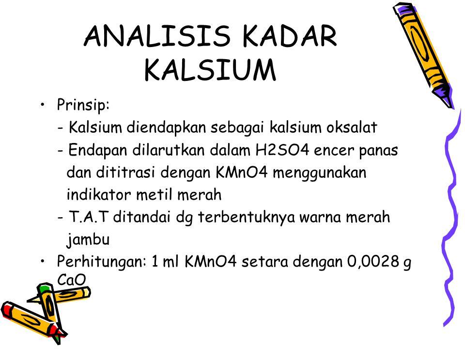 ANALISIS KADAR KALSIUM Prinsip: - Kalsium diendapkan sebagai kalsium oksalat - Endapan dilarutkan dalam H2SO4 encer panas dan dititrasi dengan KMnO4 m