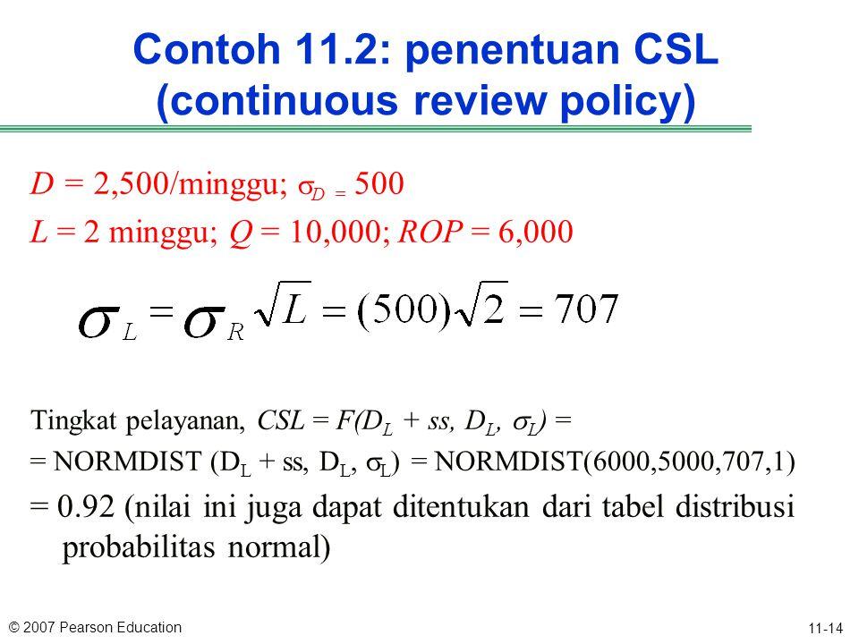 © 2007 Pearson Education 11-14 Contoh 11.2: penentuan CSL (continuous review policy) D = 2,500/minggu;  D = 500 L = 2 minggu; Q = 10,000; ROP = 6,000