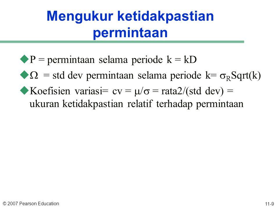 © 2007 Pearson Education 11-9 Mengukur ketidakpastian permintaan uP = permintaan selama periode k = kD   = std dev permintaan selama periode k=  R