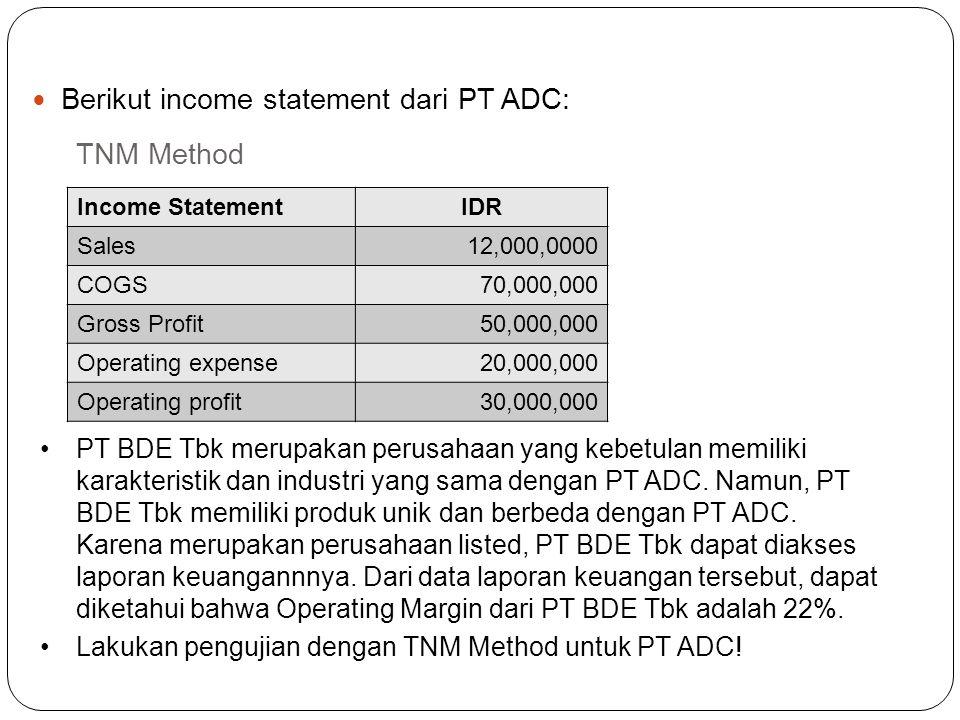 TNM Method PT ADC merupakan perusahaan manufaktur pembuatan bahan kimia yang sangat spesifik. Untuk mendukung kesuksesan usahanya, PT ADC memperoleh b