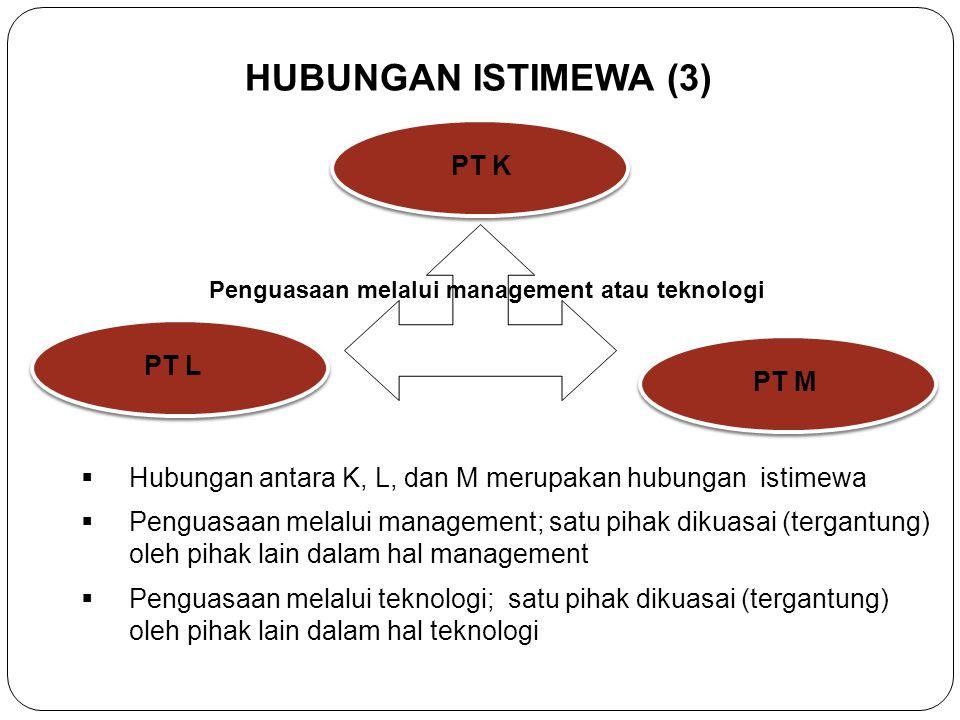 HUBUNGAN ISTIMEWA (2) PT A PT B PT CPT D Hubungan antara A, B, C, dan D adalah hubungan Istimewa Penyertaan 50% atau Lebih