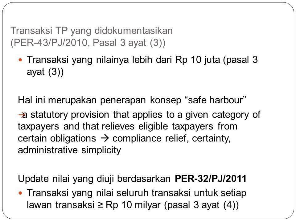 Transaksi TP yang didokumentasikan (PER-32/PJ/2011, Pasal 2 ayat (2)) Dalam hal Wajib Pajak melakukan transaksi dengan pihak- pihak yang mempunyai Hub