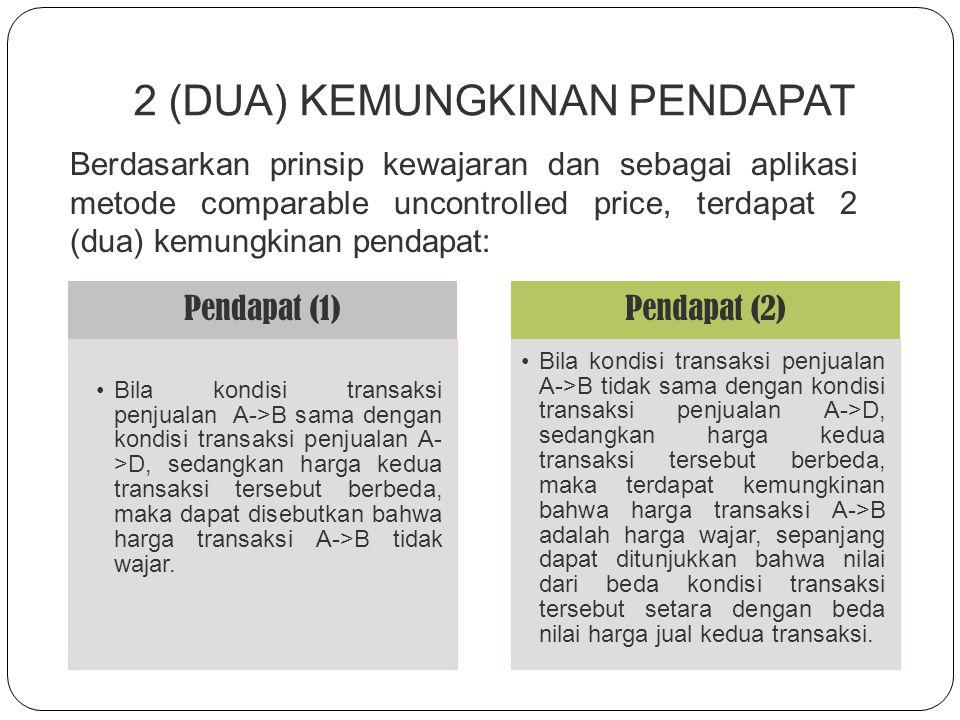 HARGA PASAR WAJAR UNTUK TRANSAKSI A  B Penentuan apakah harga transfer pada transaksi A-> B merupakan harga yang wajar dibandingkan degan A->D akan d