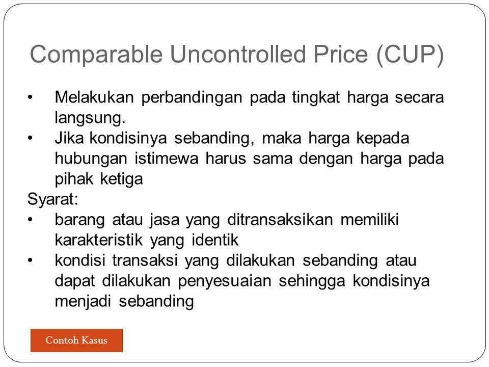 Metode Transfer Pricing update PER-32/PJ/2011 pasal 11 Dalam penentuan metode harga wajar atau laba wajar wajib dilakukan kajian untuk menentukan meto
