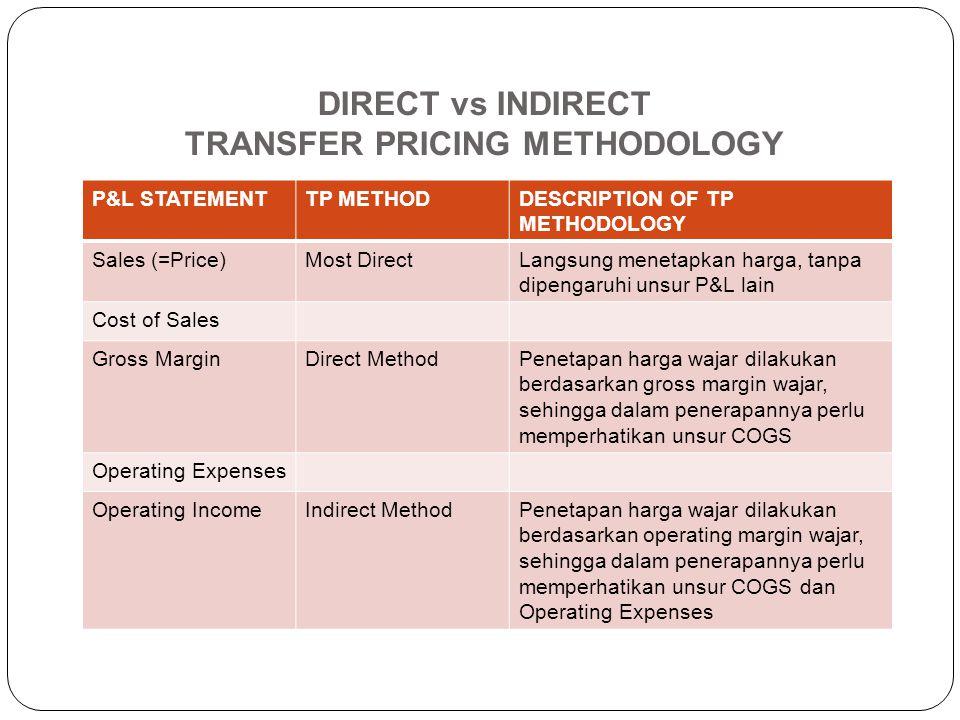 Transactional Net Margin Method (TNMM) TNMM mengidentifikasi net profit margin yang dibandingkan dengan dasar nilai tertentu (biaya, penjualan, atau a