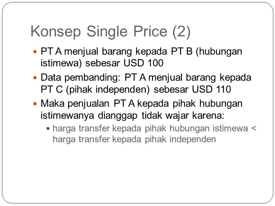 Konsep Single Price (1) Konsep Harga atau Laba tunggal digunakan jika Pembanding yang digunakan hanya berupa satu data tunggal Transaksi dianggap waja