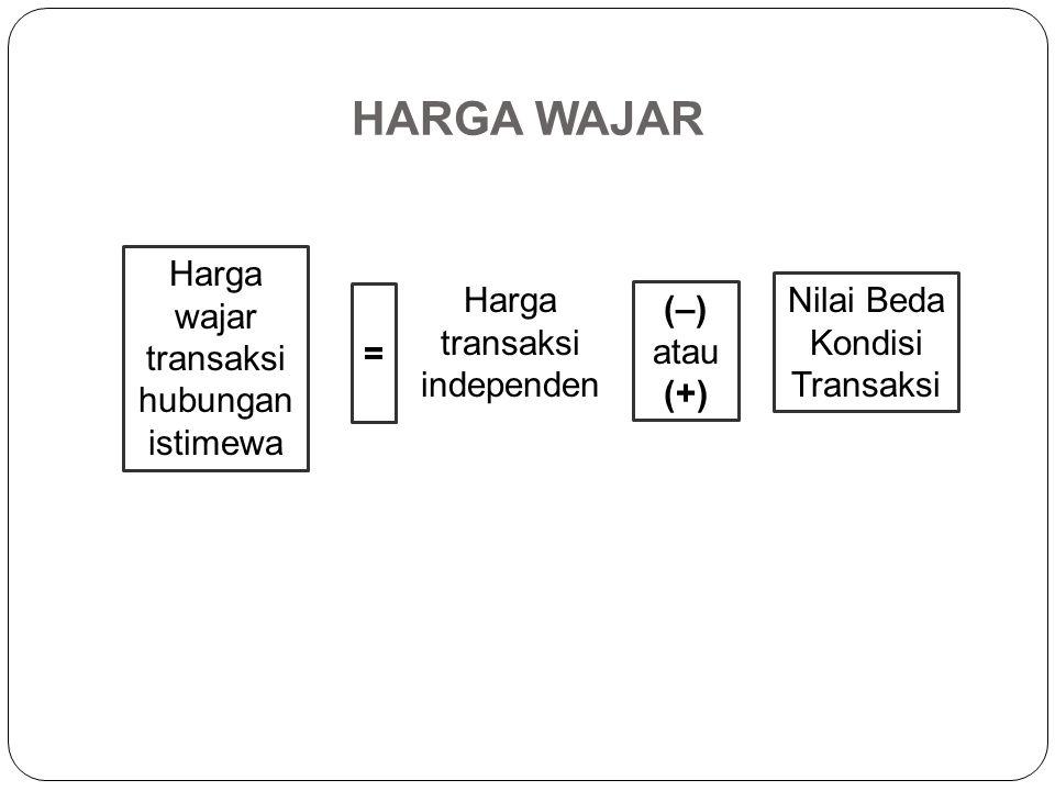Harga Wajar/Laba Wajar (Pasal 13) Harga Wajar atau Laba Wajar berdasarkan metode- metode Penentuan Harga Transfer dapat ditentukan dalam bentuk harga